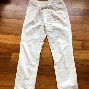 Leifsdottir Anthropologie white linen pants 6
